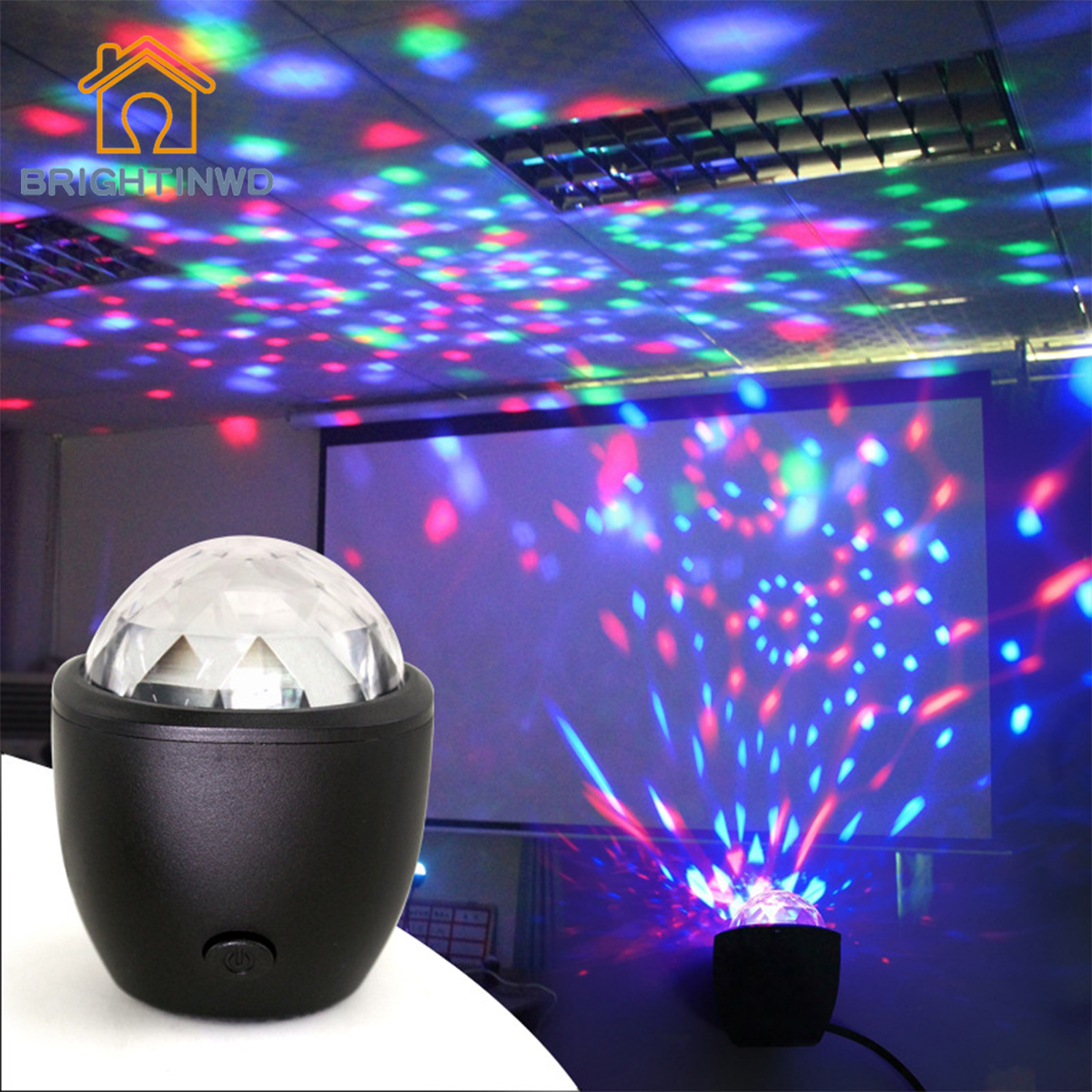 BRIGHTINWD 3W USB powered Sound actived Multicolor Disco ball magic effect lamp for birthday Party Concert etc Mini stage light