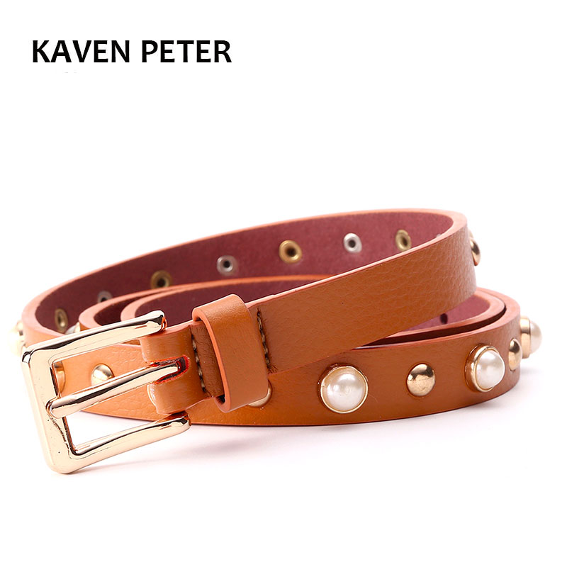 Pearl Belt For Women Metal Belt With Gold Buckle Belt 2.0 cm Width Black Beige Brown Color High Quality Ceinture Femme