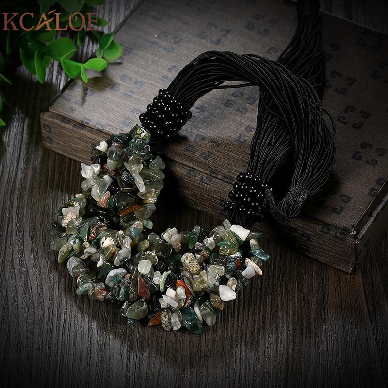 KCALOE Indian Onyx Natural Stone Necklace Vintage Accessories Fashion Black Rope Chain Statement Necklaces 2017 Fashion Jewelry special new fashion natural stone maxi necklace black onyx big necklaces