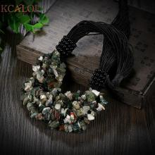 KCALOE Indian Onyx Natural Stone Necklace Vintage Accessories Fashion Black Rope Chain Statement Necklaces 2017 Fashion Jewelry