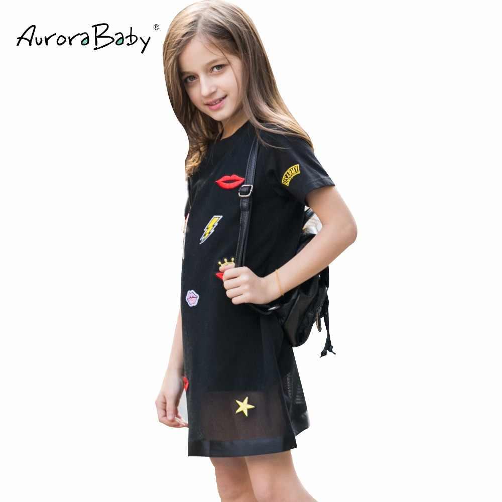 ชุดเดรสสำหรับสาวฤดูร้อนสาวเล็กๆน้อยๆสีดำ Appliques เสื้อผ้าสำหรับหญิง 6 7 8 9 10 11 12 13 14 ปีเสื้อผ้า