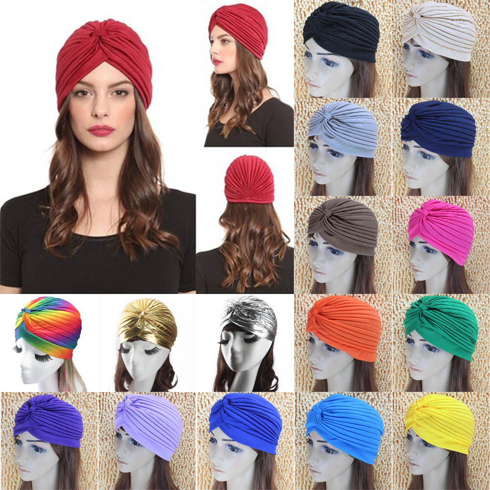Women Ladies Indian Style Stretchy Solid Turban Hat Hair Head Wrap Cap Headwrap HATYS0002