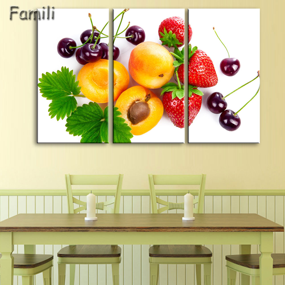 3Pcs Creative Art Canvas Painting Poster Fruits Vegetables on canvas ...