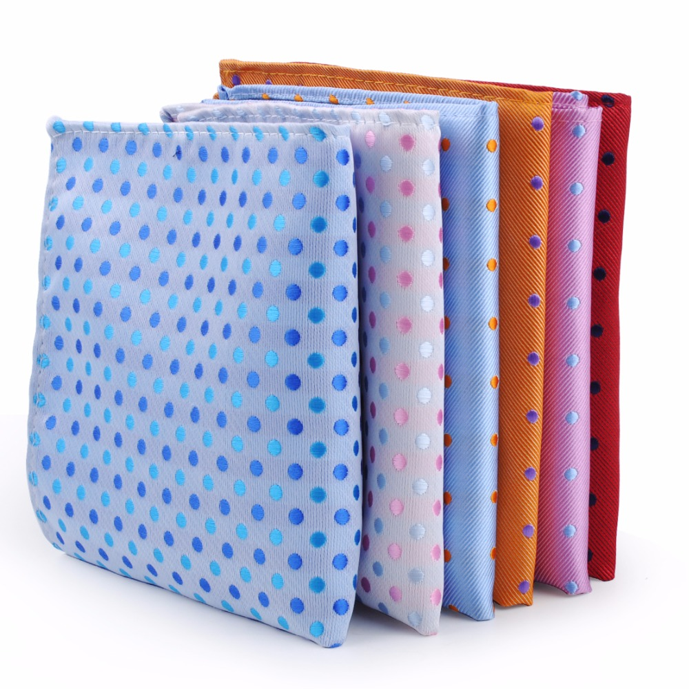 CiciTree 6PCS/SET Colorful Big Polka Dots Men's Polyester Handkerchief Men Pocket Square For Wedding Chest Towel Hanky Banquet