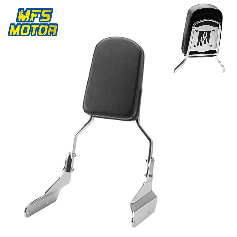 For 94-03 Honda Magna Motorcycle Rear Flame Backrest Passenger Sissy Bar Cushion Leather Pad Chrome 1994 1995 1996 1997-2003