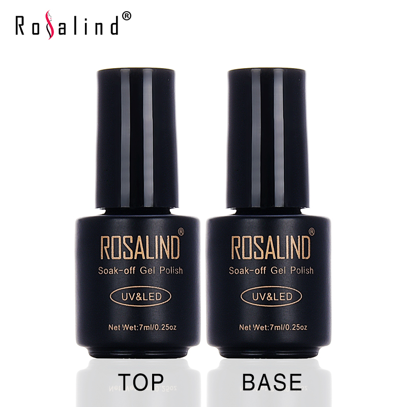 ROSALIND 7ML Set Multi-Use Top Coat & Bace Coat UV LED Gel Nail Polish Nail Art Professional Basic Using Soak-Off Lacquer