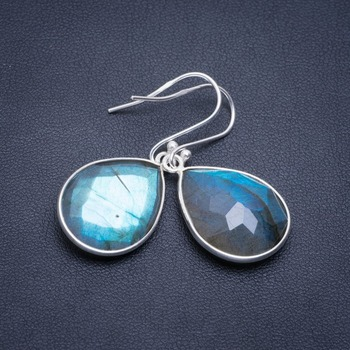 Natural Blue Fire Labradorite Handmade Unique 925 Sterling Silver Earrings 1.5 A2203 пуля