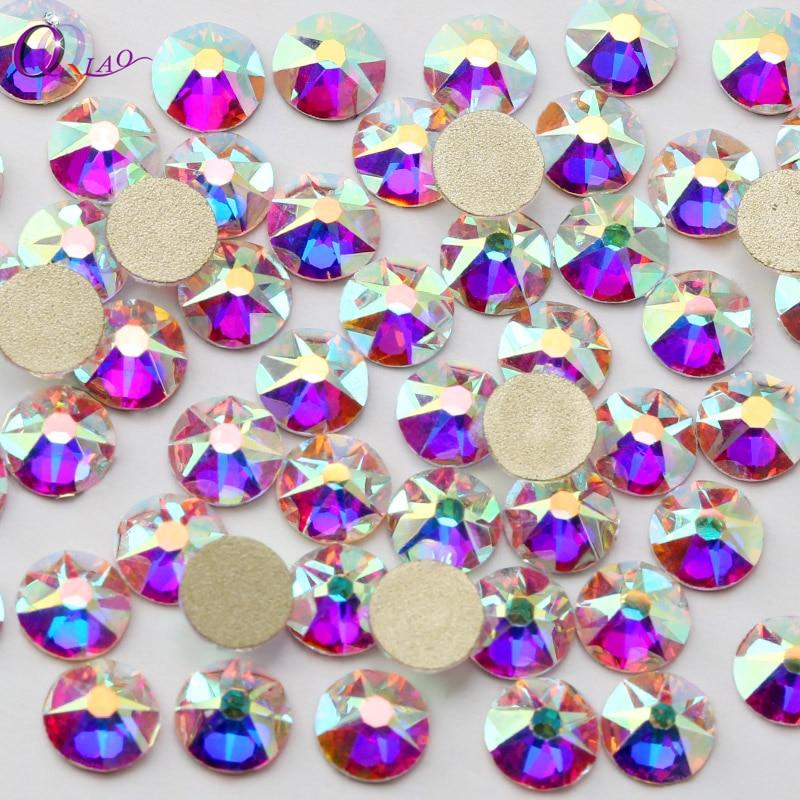 8 Big + 8 Small Cut Facets Nail Rhinestone Crystal Clear /Crystal AB Flatback Non Hotfix Rhinestones Decoration Crystal Stones