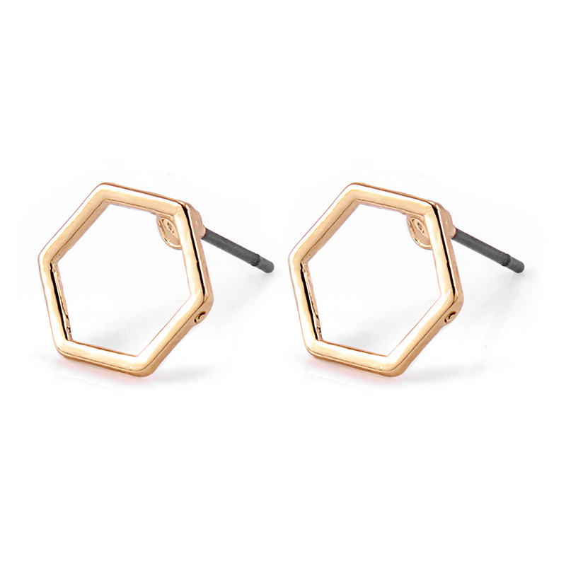 10 pairs/lot Trendy Alloy Hexagon Stud Earring For Women Girl Office Lady Girlfriend Sweet Sixangles Ear Jewerly Gift Wholesale