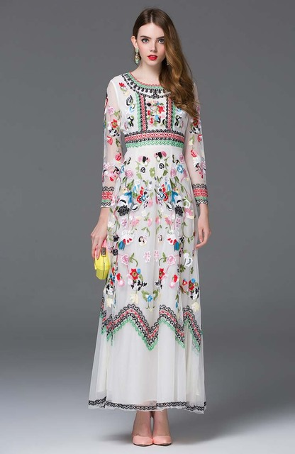 Embroidery Maxi Runway Dresses