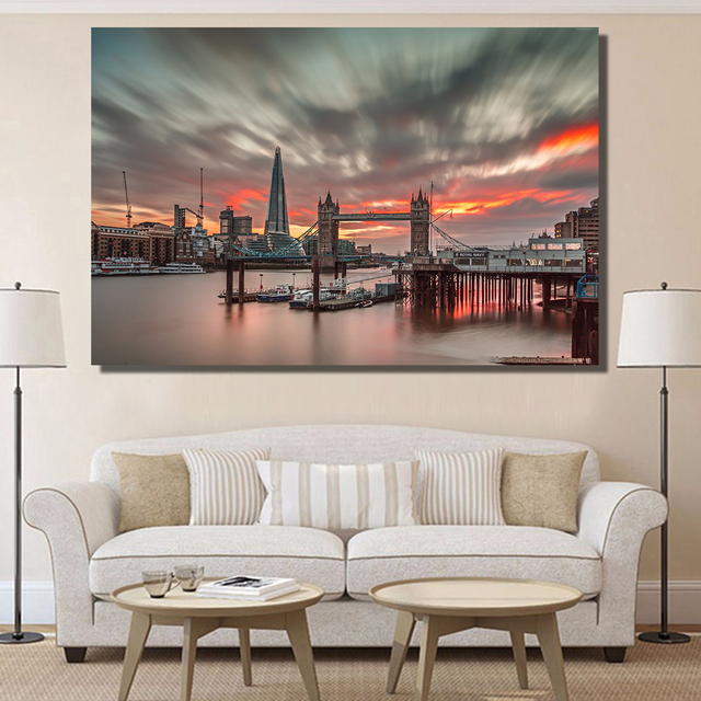 Lovely QKART Canvas Prints England Travel Tourism Sunset Landscape Oil Painting  For Living Room Bedroom Wall Pictures