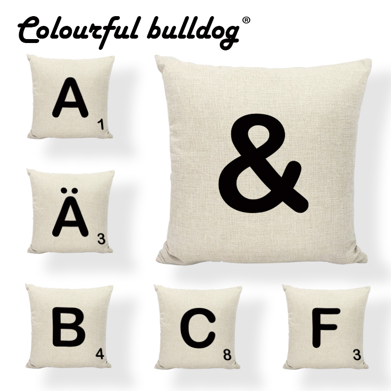 New Design Alphabet Scrabble Tiles Throw Pillow Case Classic Game 43*43cm 26 Letters Home Office Couch Rock Chair Cushion Cover