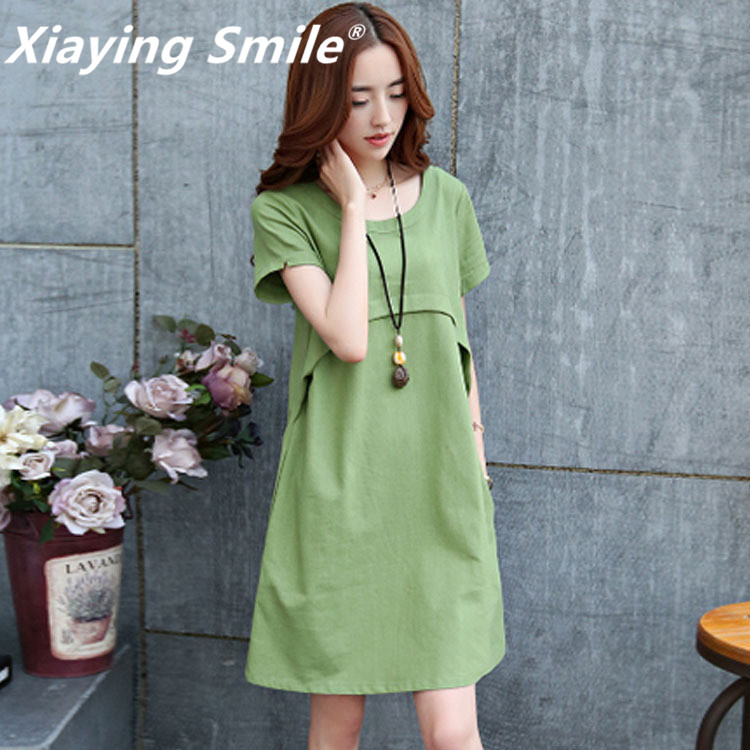 Xiaying Smile Women Biank Maternity Dress Female Fashion All-Match V-Neck Sexy loose Big Tie-dyed Striped Dresss Short Sleeve ladylike v neck short sleeve spliced laciness flower pattern dress for women