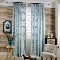 Simple Modern Fresh Screens Cotton Geometric Pattern Jacquard Transparent Tulle Sheer Curtains Custom For Living Room