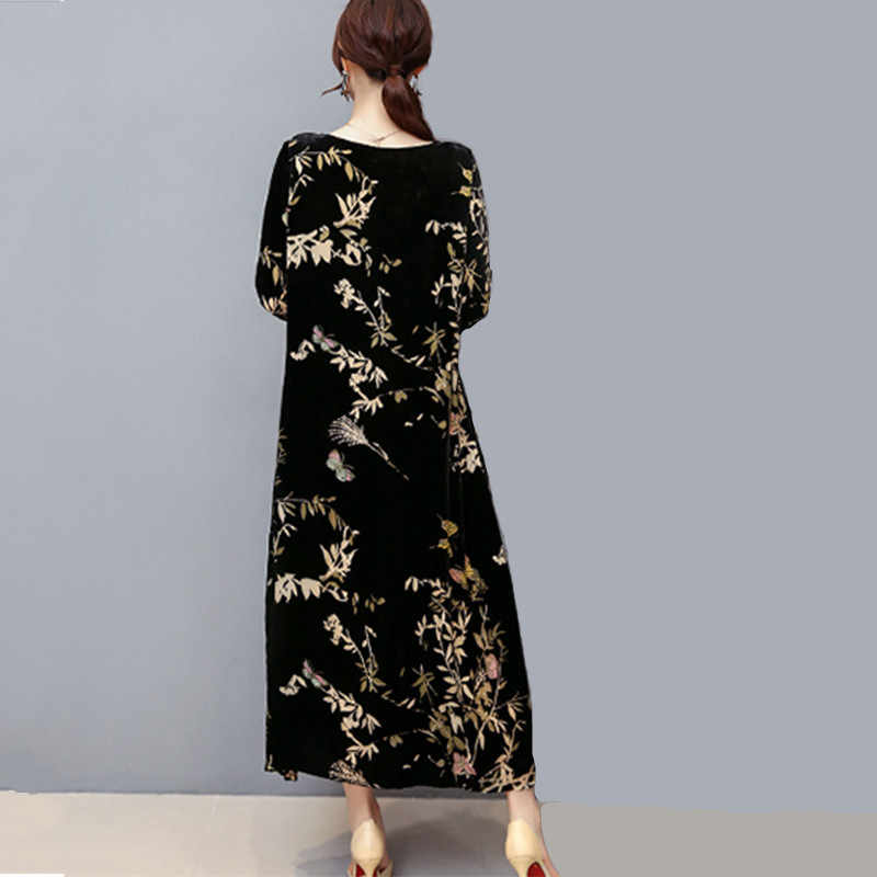 Vestido de tamaño grande con estampado de flores de terciopelo dorado para mujer primavera otoño 2019 nuevo vestido de Madre de mediana edad elegante Vintage aa669