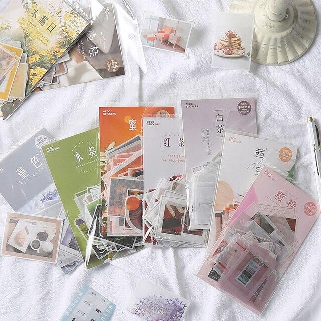 40 unids/lote Washi etiqueta engomada de papel de bricolaje decoración diario pegatinas Scrapbooking arte de papel DIY de suministros de oficina
