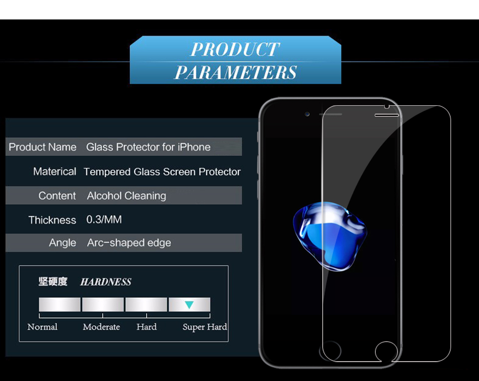 Tempered Glass for iPhone 6 6S Screen Protector for iPhone 7 Plus Glass Film for iPhone 8 plus X XR XS SE 5S Tough Protection 16