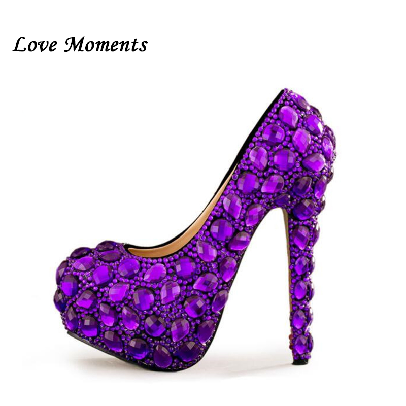 Love Moments New purple rhinestone high heel bridal shoes round toe fashion  women s shoes PUMPS luxury wedding shoes 0748b30609b7