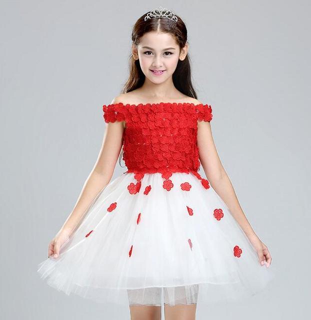 8f3d6f62fad2d Glitz rouge pétale princesse fleur fille robes pour les mariages enfant  filles sans épaule fête Pageant