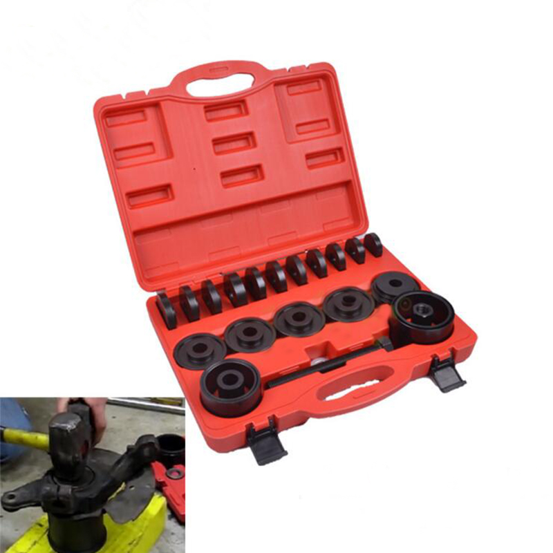 23PC FWD Front Wheel Drive Bearing Removal Adapter Puller Pulley Tool Kit W/Case 1 pc front hub bearing installer puller tool universal fwd front weel drive duck puller hub puller car wheel repairing kit