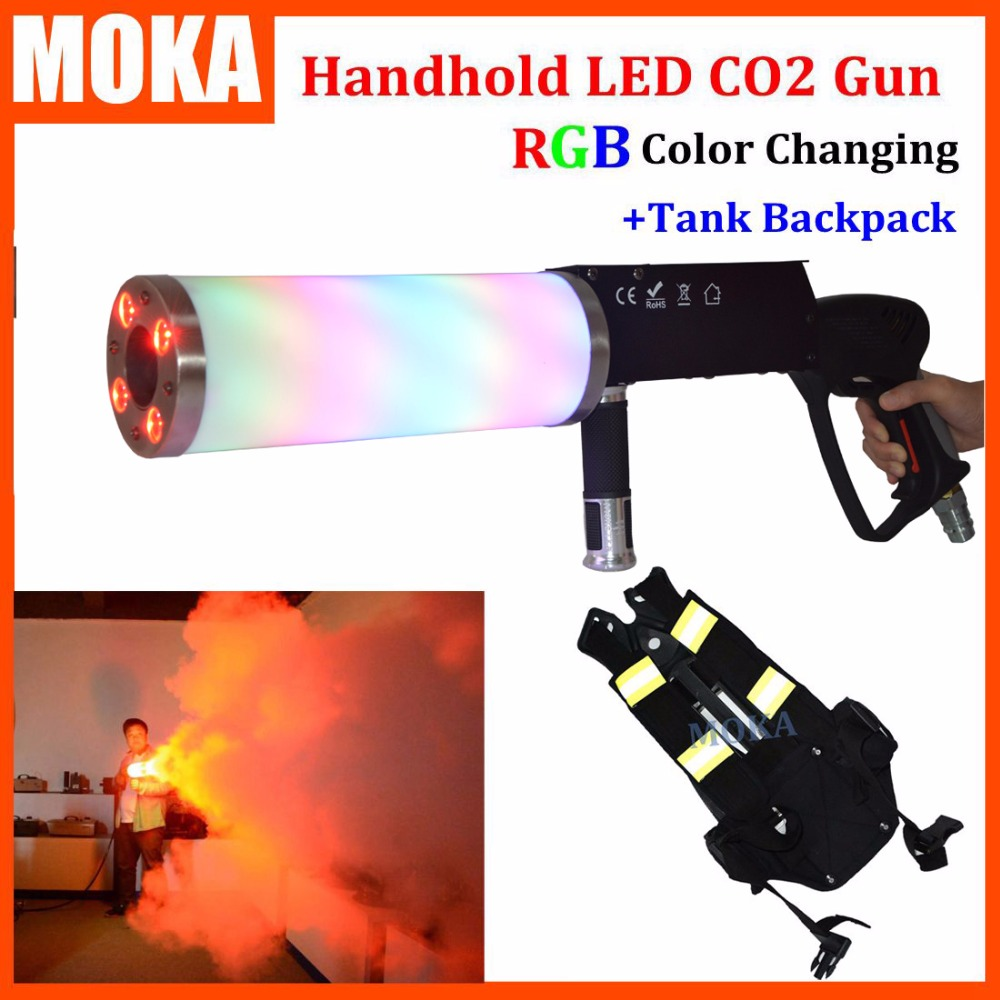 1 Pcs backpack +handhold led co2 gun rgb party led dj stage co2 jet machine blower for led stage light co2 shooter battery