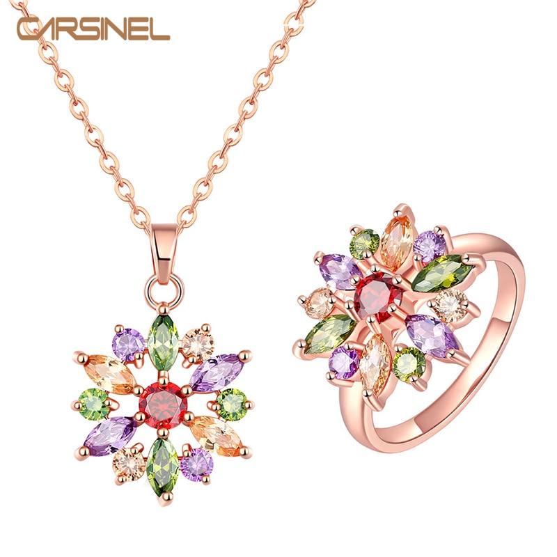 CARSINEL Colorful Flower Jewelry Sets Women Wedding Rose Gold-color AAA Cubic Zircon Hypoallergenic Gift Bijouterie JS0099