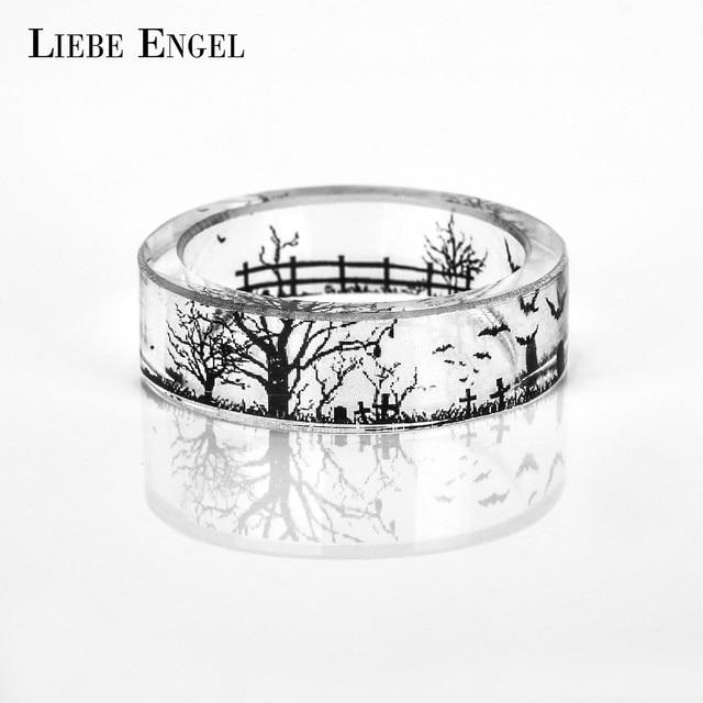Liebe Engel Cross Grave Bat Ring Men Ink Painting Scenery Inside Epoxy Resin Rings Women Finger