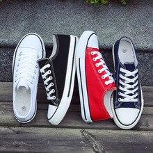 Мужская Вулканизированная обувь Классическая парусиновая обувь однотонная повседневная обувь на шнуровке белые, черные, Красные кроссовки низкие парусиновые туфли BINHIIRO