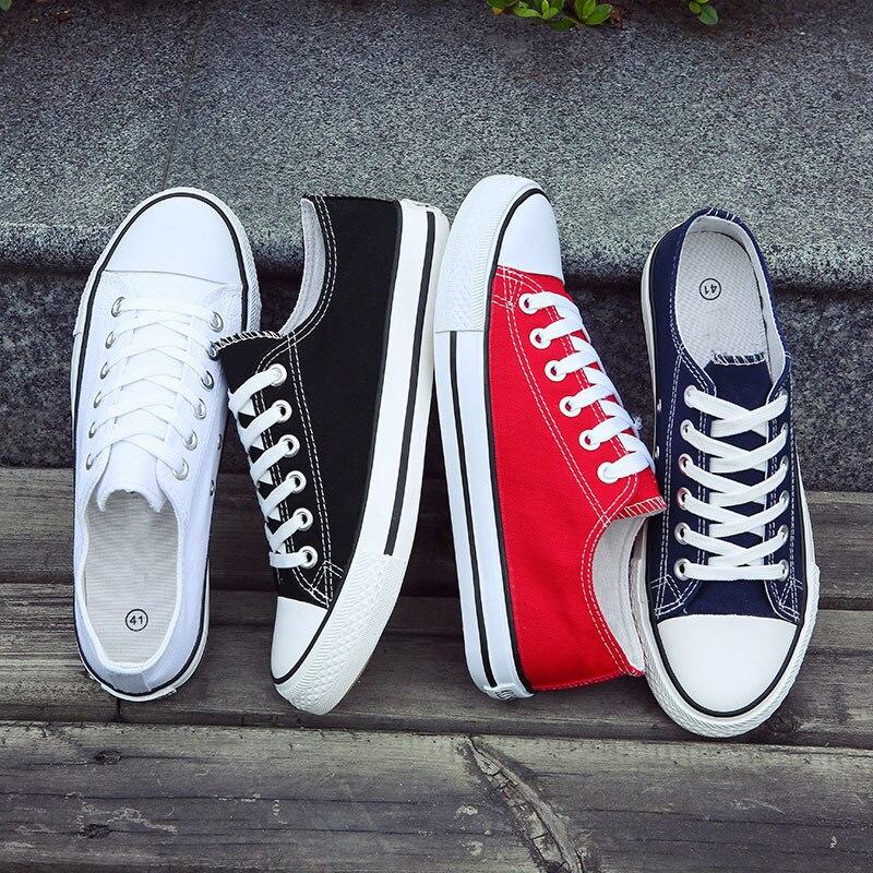 Degli uomini di Vulcanize Scarpe Scarpe di Tela Classiche Scarpe Solid Lace-up casual Bianco nero Rosso Paio di scarpe Da Ginnastica Low-cut scarpe di tela BINHIIRO