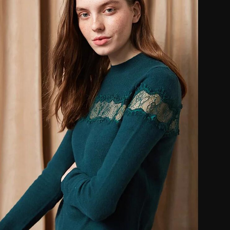 Women 100% Wool Lace Pullover Sweater New Autumn Long Sleeve O Neck Female Pull Top Green White