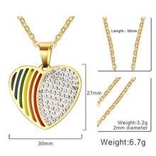 LGBT Rhinestone Heart Rainbow Stainless Steel Necklace