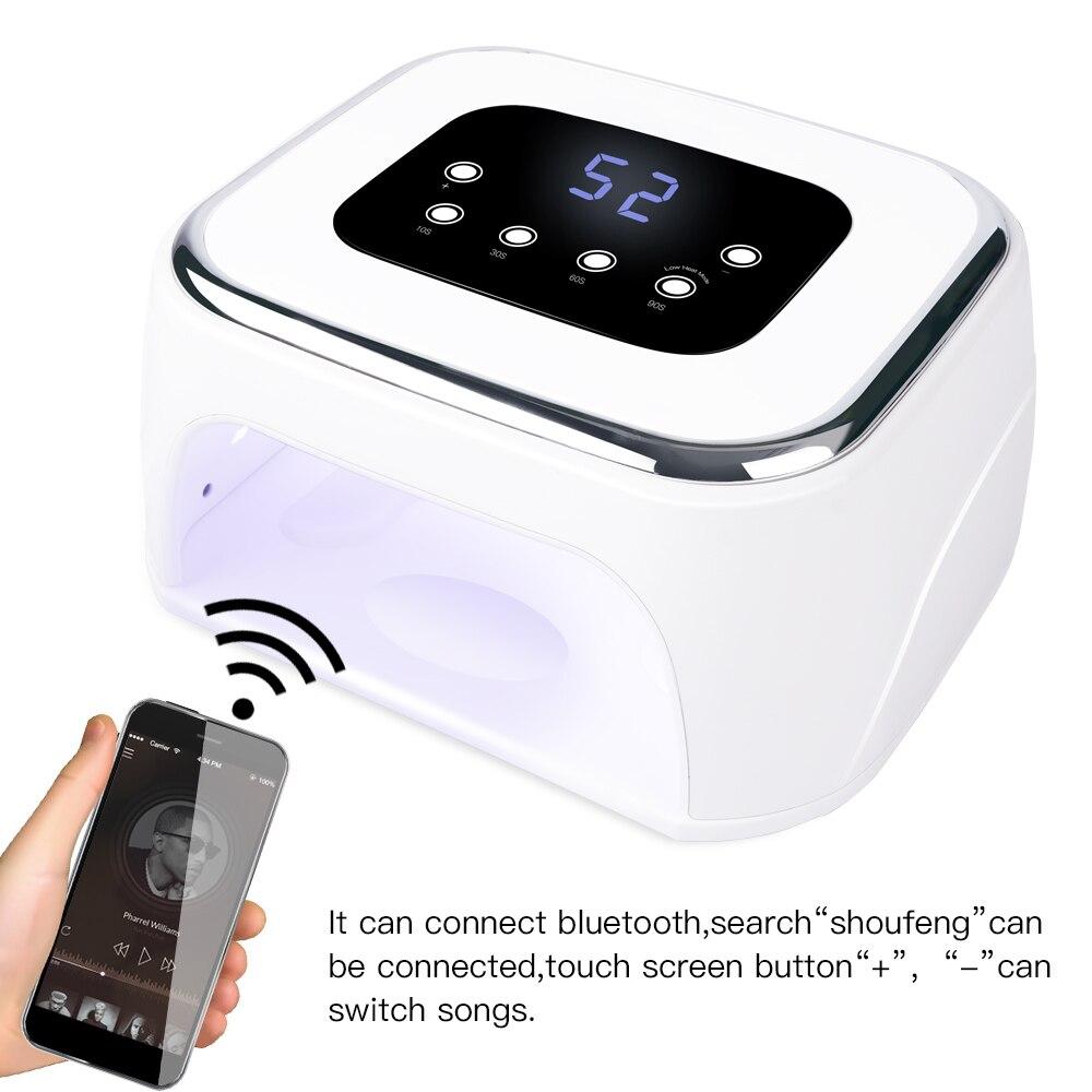 New Bluetooth UV LED Lamp Nail Dryer Loudspeaker Box Time Setting 10 20 60 90s Curing