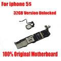 Versão oficial original mainboard motherboard para o iphone 5s 32 gb desbloqueado com reconhecimento de impressão digital espaço cinza