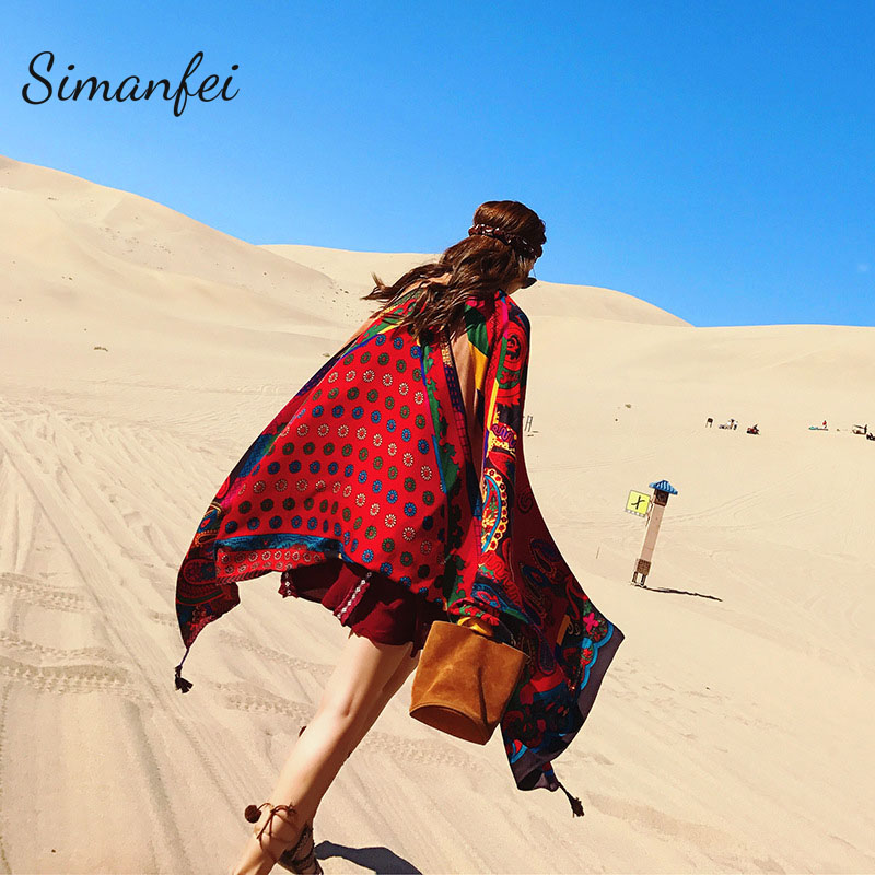 Simanfei Travel Beach Towels 2019 Big Size Geometry Totem Ethnic Style Scarf Women Sun Shade Retro Cotton Tapestry Pashmina Yoga