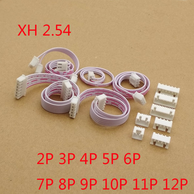 10pcs/lot 20cm XH red white ribbon cable dual head same direction XH2.54 2P 3P 4P 5P 6P 7P 8P 9P 10P 11P 12P connector
