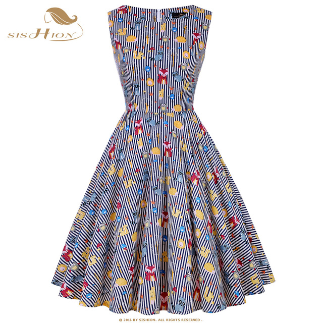 SISHION Women Dress Animal Print Striped Retro Vintage Dress 50s 60s Cotton  Casual Party Robe Rockabilly Dresses Summer VD0586-in Dresses from Women s  ... d1f426353ad2