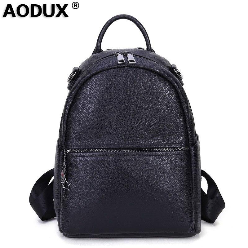 100 Genuine Leather One Shoulder Tote Double Shoulder Belt Using Women Backpack Ladies Backpacks Travel Cowhide