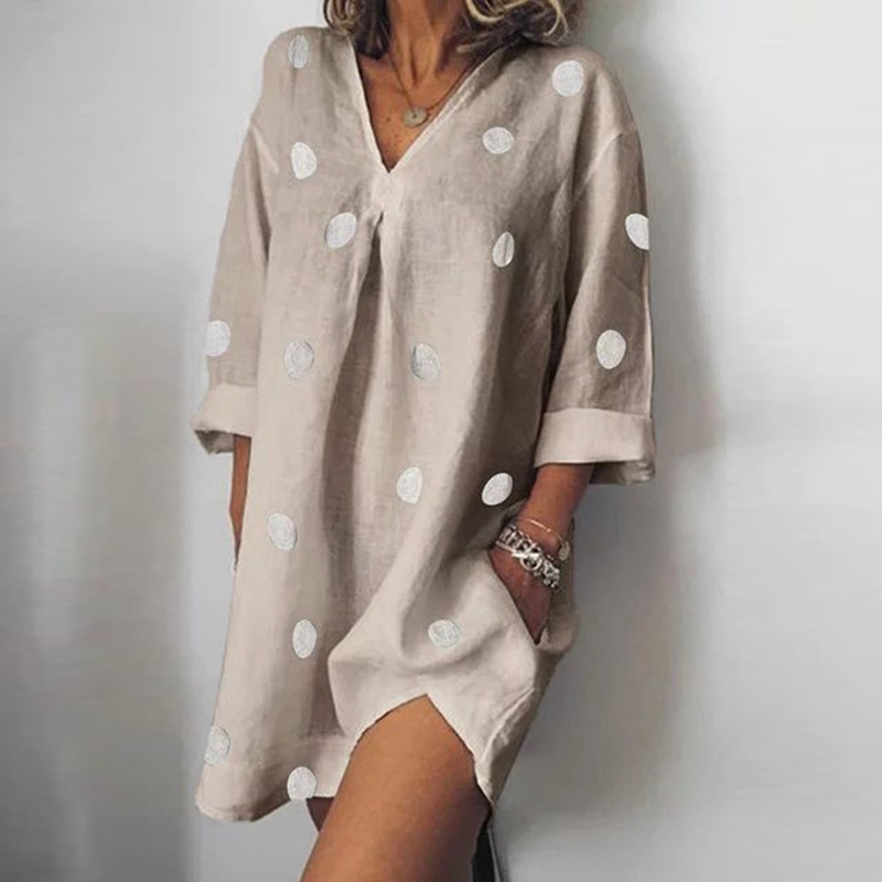 Irregular Cotton Linen Summer   Blouse   Woman Half Sleeve Long Thin Women   Shirt   Dress Elegant Casual Polka Dot Blusas Plus Size 5XL
