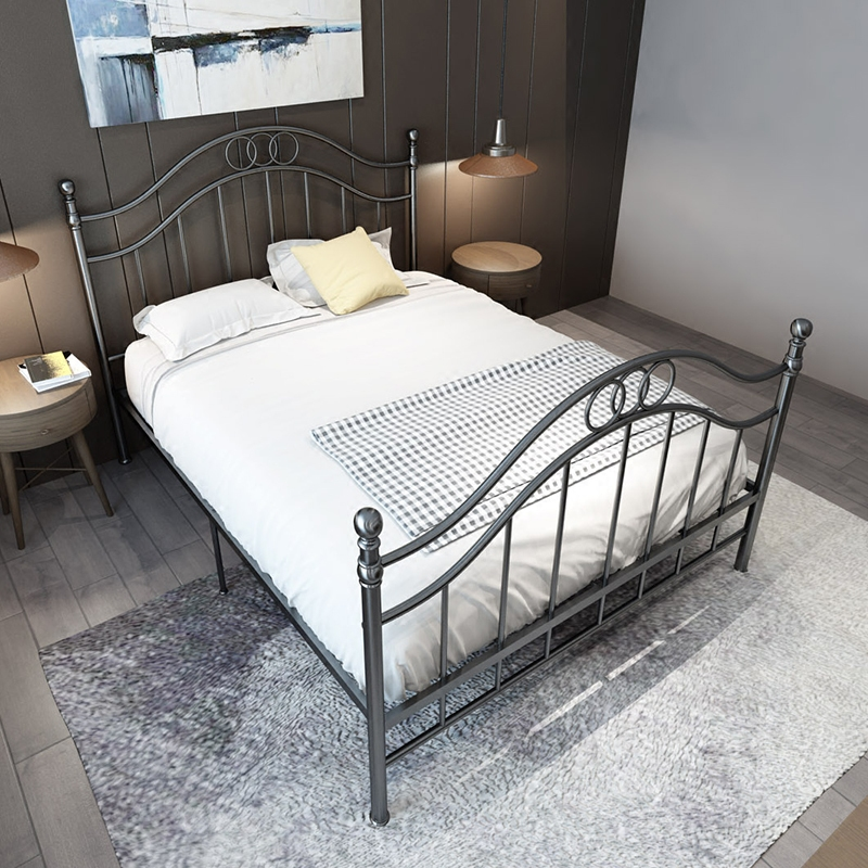 European style vintage iron frame bed 1.8 meters double ...