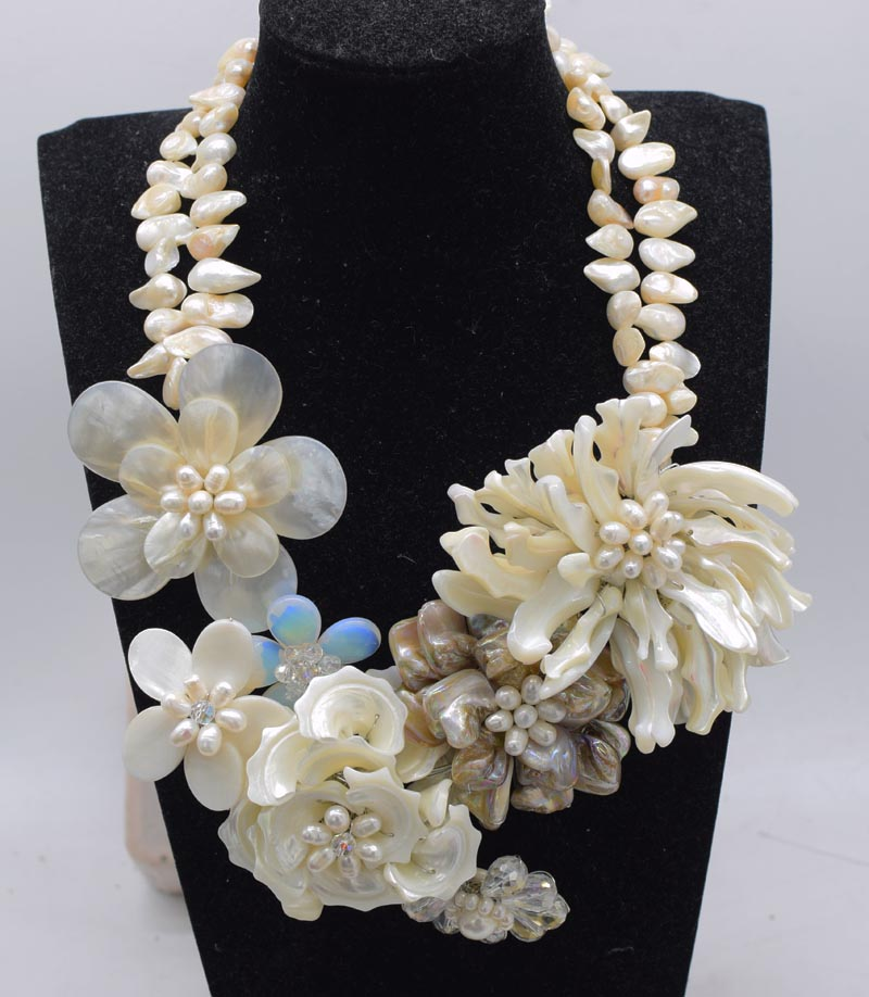 2rows  freshwater pearl white  baroque sea shell  flower necklace 19inch FPPJ wholesale beads nature 2rows  freshwater pearl white  baroque sea shell  flower necklace 19inch FPPJ wholesale beads nature