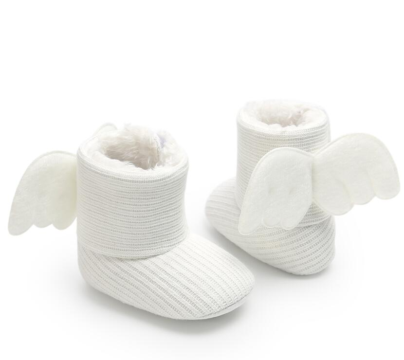 Baby Shoes Bowknot Woolen Angel Wing Fur Knit Boots Toddler Knited Winter Faux Fleece Crib Snow Boots Soft Soled First Walkers