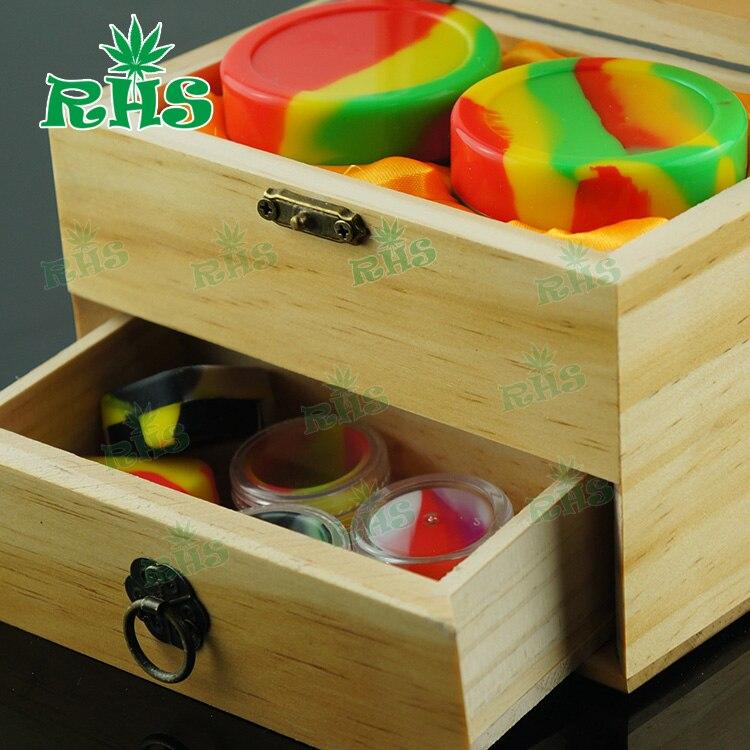 Avec un beau paquet en bois ou en bambou matériau pots en silicone dab cire conteneur cire huile conteneur boîte en bois pour huile essentielle - 5
