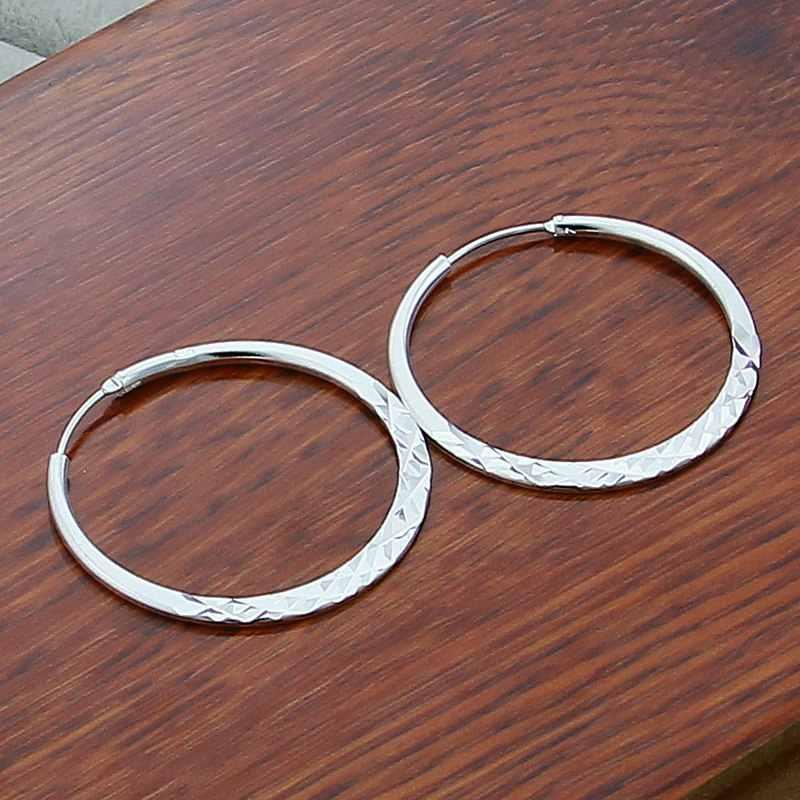 גבוהה באיכות חישוק עגילי 925 סטרלינג כסף 5.0cm מעגל עגילי תכשיטים סיטונאי מפעל ישיר מכירות