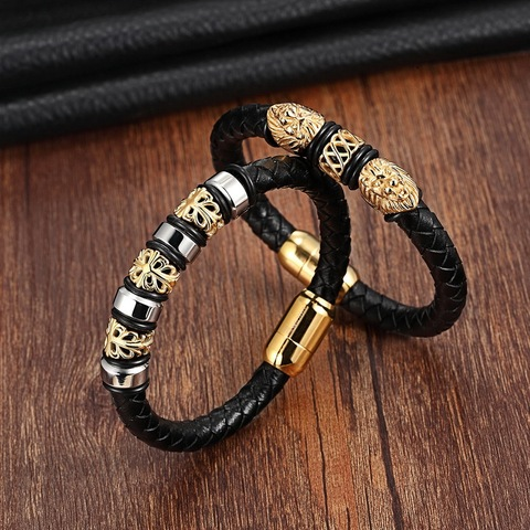 Charm Genuine Leather Bracelets & Bangles Stainless Steel Magnetic Clasps Bracelet For Women Mens Jewelry Pulsera Male Accessory Multan