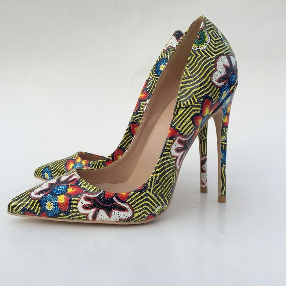 Keshangjia sexy pointed toe ladies flowers printing high heels women pumps shoes woman party wedding zapatos