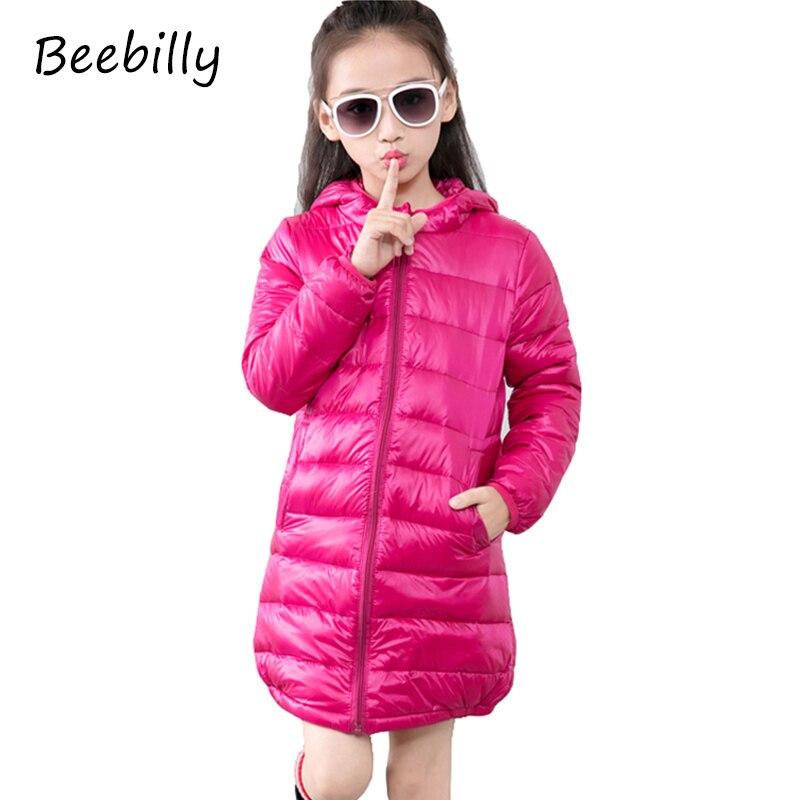 Girls Winter 80% Duck Down Coat Kids Jacket Hooded Ultra Light Long Boys Jackets Children Clothes Warm Parka Outerwear Snowsuit стоимость