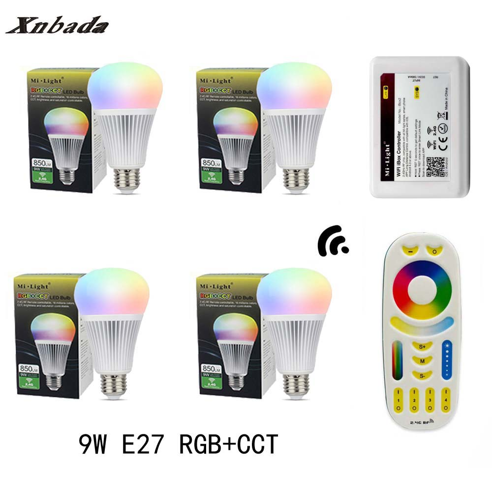 MiLight 9W Led Lamp E27 RGB+CCT Led Bulb +RGBWW Remote+IBX2 RF Remote WIFI Led Spotlight light Led light AC85-265V Free Shipping keyshare dual bulb night vision led light kit for remote control drones