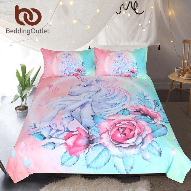 BeddingOutlet Unicorn ועלה סט קריקטורה לילדים שמיכה כיסוי Girly מיטת יחיד סט ורוד וכחול פרחוני בית טקסטיל