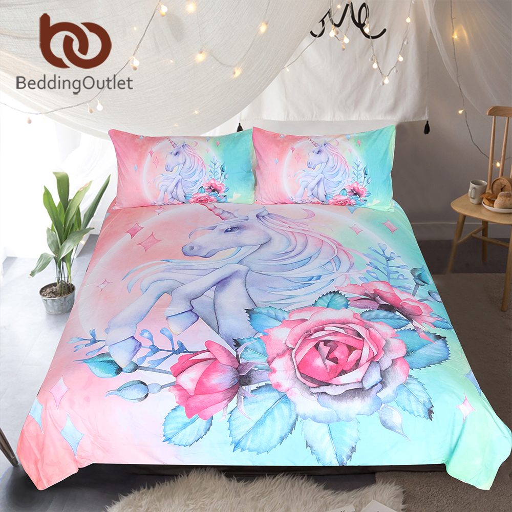 BeddingOutlet Unicorn and Rose Bedding Set Cartoon for