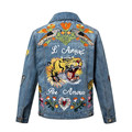 New Autumn Tiger Embroidered Denim Jacket Coats Girl Single Breasted Button Female Jacket Thickening Outerwear chaquetas mujer